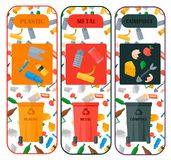Weste recycling vector garbage cards waste types sorting processing treatment remaking trash utilize recycling icons. Illustration. Garbage boxes and bins Royalty Free Stock Images