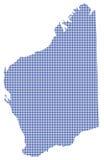 Westelijk Australië Dot Map In Blue Stock Afbeelding