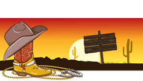 Westelijk beeld met cowboykleren en landschap Royalty-vrije Stock Afbeelding