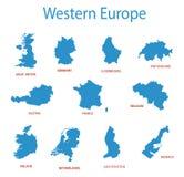 Westelijk Europa - kaarten van gebieden stock illustratie