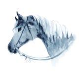 Westelijk het paardhoofd van de waterverfcowboy met teugel royalty-vrije illustratie