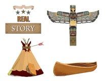 Westelijk zaal en Tipi Indisch de klemart. van de Totemkano Uitstekende stijl Het verhaal van Texas Op witte achtergrond royalty-vrije illustratie