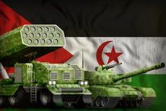 Westelijk zwaar militair de pantserwagensconcept van de Sahara op de nationale vlagachtergrond 3D Illustratie vector illustratie