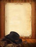 Westelijke achtergrond met cowboykleren en oud document voor tekst Royalty-vrije Stock Foto's