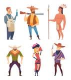 Westelijke cowboys De karakters van het het wildland met paarden vectorbeeldverhaal cliparts royalty-vrije illustratie