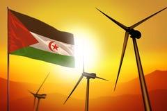 Westelijke de windenergie van de Sahara, het concept van het alternatieve energiemilieu met windturbines en vlag op zonsondergang stock illustratie