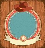 Westelijke etiketachtergrond met cowboyhoed Stock Afbeelding