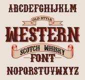 Westelijke etiketdoopvont met decoratieontwerp royalty-vrije stock afbeelding