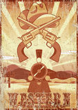 Westelijke film grunge uitstekende kaart of affiche met woestijnlandschap, trein, kanonnen en hoed Stock Foto's