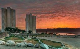 Westelijke ingang aan Eilat-stad bij dageraad, Israël Stock Afbeelding
