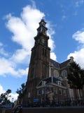 Westelijke kerk Westerkerk bij zonsondergang, Amsterdam, Nederland royalty-vrije stock foto's