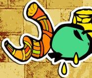 Westelijke Muur, Jeruzalem Loeiende Muur Shana Tova Rosh Hashanah doodle Vertaald Hebreeuws Gelukkig Nieuwjaar Shofar, honing, ap stock illustratie