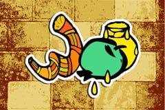 Westelijke Muur, Jeruzalem Shana Tova Rosh Hashanah doodle Vertaald Hebreeuws Gelukkig Nieuwjaar Shofar, honing, appel sticker vector illustratie