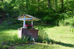 Westelijke NC-baksteen goed met bloemen Stock Afbeelding
