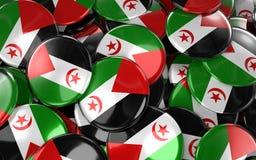Westelijke Sahara Badges Background - Stapel van Westelijke Sahara Flag B Royalty-vrije Stock Fotografie