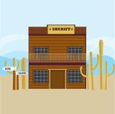 Westelijke Sheriff House Facade Template vector illustratie