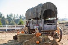 Westelijke stijl retro wagen op een landbouwbedrijf stock fotografie