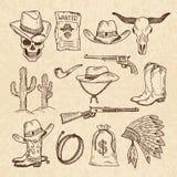 Westelijke symbolen Cowboy, kanonnen, zaal en andere wilde geplaatste het westenbeelden Vectorhand getrokken beelden stock illustratie