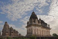 Westelijke Tempels van Khajuraho, India - Unesco-de plaats van de werelderfenis. Stock Afbeelding