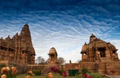 Westelijke Tempels van Khajuraho, India - Unesco-plaats Stock Foto's