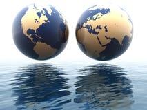 Westen und Osthemisphären von Erde Stockbilder