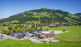 Westendorf village in the Alps mountains , cable lift station Stock Photo
