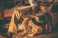 Wester klädercowboy Arkivfoto