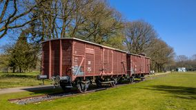 Former Nazi deportation train. WESTERBORK, NETHERLANDS, APRIL 9 2017. Former nazi deportation train in camp Westerbork, now a memorial site and museum stock photography