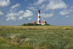 Westerhever (Germany) - Light house Royalty Free Stock Photos