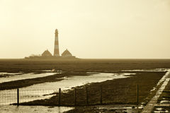 Westerhever lighthouse in the fog Royalty Free Stock Images