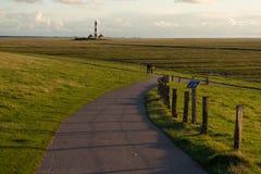 Westerheversand latarnia morska, Północny morze Zdjęcie Stock