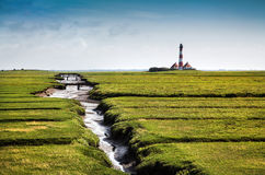 Westerheversand lighthouse at North Sea, Germany Stock Photography