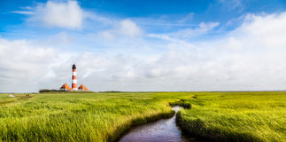 Westerheversand lighthouse at North Sea, Schleswig-Holstein, Germany Stock Images