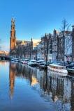 Westerkerk运河冬天 免版税图库摄影