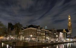 Westerkerk Амстердам на ноче Стоковая Фотография RF