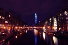 Westerkerk canal night Stock Photo