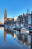 Westerkerk canal winter Royalty Free Stock Photography