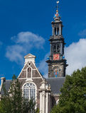 Westerkerk church steeple in Amsterdam Royalty Free Stock Photography