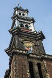 Westerkerk kyrkligt torn i Amsterdam Royaltyfri Foto