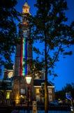 Westerkerk na Prinsengracht kanale w Amsterdam w dum colours obrazy stock