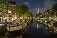 Westerkerk. Prinsengracht canal with a view on Westerkerk church, Jordaan, Amsterdam Royalty Free Stock Photo