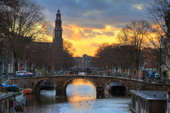 Westerkerk sunset bridge Stock Image