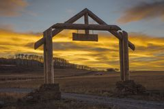 Westerm gateway at sunset, Hastings Mesa, Ridgway. OCTOBER 10, 2017 - SUNSET GATEWAY - Aspen View Ranch - Eco Home A-Frame of photographer Joseph Sohm - Hastings stock image