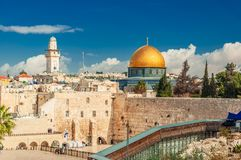Western ściana i kopuła skała w Starym mieście Jerozolima, Izrael fotografia royalty free