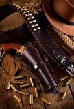Western accessories. On wooden table Stock Photos