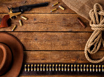 Western accessories. On wooden table Royalty Free Stock Photos
