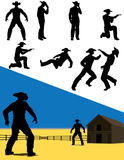 Western Action Silhouettes Royalty Free Stock Image