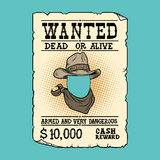 Western ad wanted dead or alive Royalty Free Stock Photos