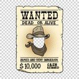Western ad wanted dead or alive. Pop art retro vector illustration. Transparent background vector illustration