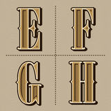 Western alphabet letters vintage vector (e, f, g, h) Stock Image